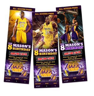 La Lakers Birthday Party Invitation Ticket Custom Card Basketball Any