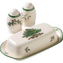 Spode Christmas Tree Hostess Set Covered Butter Salt Pepper Set New in