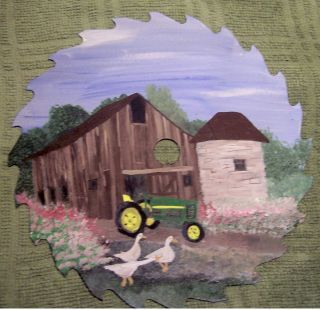 Painted 7 saw blade John Deere Tractor Barn Stone Geese Landscape Art
