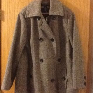Lane Bryant Brown Tweed Wool Winter Dress Coat Sz 26 28 26 28 Womens