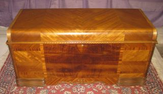Beautiful Antique 40s Art Deco Waterfall Lane Cedar Hope Chest