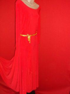 Lane Bryant Christmas Red Gold Chain Belt Stretchy Dress 18 20