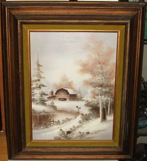 Lampert Barn Silo Original Oil on Canvas Snow Landscape Painting