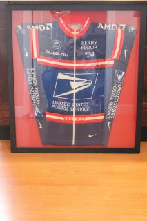 LANCE ARMSTRONG SIGNED BLUE USPS TOUR de FRANCE TEAM JERSEY**7 TIMES