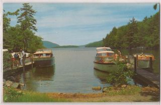 Lake George NY Postcard Black MT Point Docks w Boats People c1960s