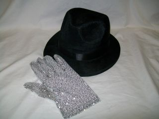 Michael Jackson Fedora Billie Jean Costume Hat Glove