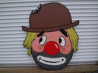 Vintage Chippewa Lake Park Medina Ohio Amusement Park Wood Clown Head
