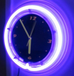 NEON WALL CLOCK~BLACK LIGHT~BY ENHANCE~AC & DC OPERATED~PURPLE FRAME