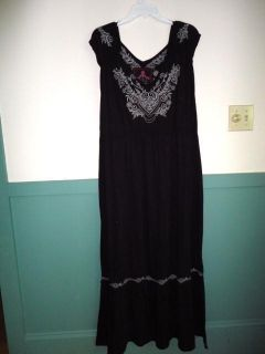 New $200 Johnny Was JWLA Black Cotton Jersey Embroidered Maxi Dress 3X