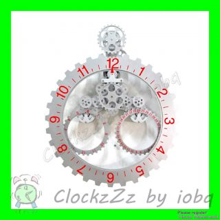 Home Decor Mechanical Large Calendar Round Wall Gear Clock SILVER