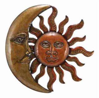 Large 20 Copper Bronze Finish Celestial Sun Moon Metal Wall Art
