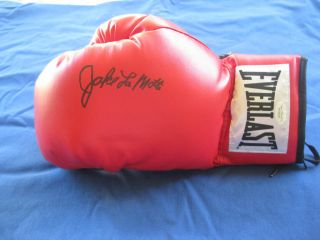 Jake The Raging Bull LaMotta Signed Autographed Boxing Glove JSA