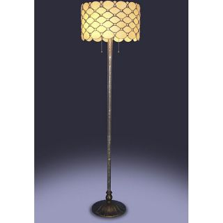 Look Jeweled Drum Shade Stained Glass Tiffany Style Floor Lamp