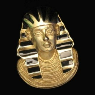 Pearl Vintage Egyptian Revival Pharoah Large Brooch Pin Pendant