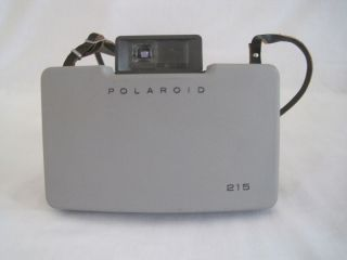 Vintage Polaroid Land Camera Automatic 215 Gray Film Manual Leather