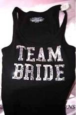XS Victoria Secret Team Bride Sequin Bling Tank Top Shirt Black Silver