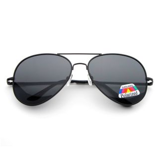 Military Polarized Large Metal Aviator Sunglasses 2602 Black