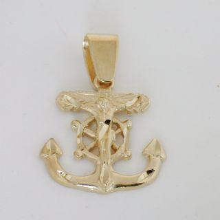 18K Gold EP Large Cross Crucifix Anchor Pendant