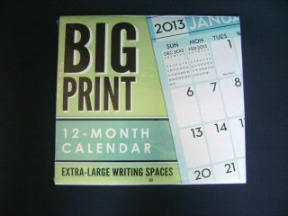 PRINT EXTRA LARGE WRITING SPACES 12 MONTH WALL CALENDAR 12 X11 PLANNER
