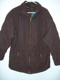 Women Large Microfiber Winter Coat DK Brown Larry Levin