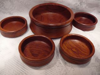 TEAK WOOD ROUND SALAD BOWL SET 1 LARGE 4 SMALL TEAK WOOD SERVING BOWLS