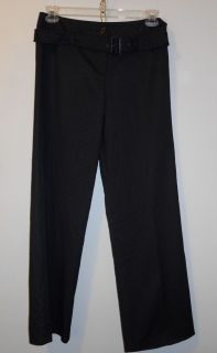 Larry Levine Womens Size 8 Stretch Black White Belted Dress Pants