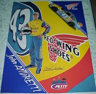 Vintage JOHN ANDRETTI & KYLE PETTY ~ INDY Racing ~2 sided RARE Race
