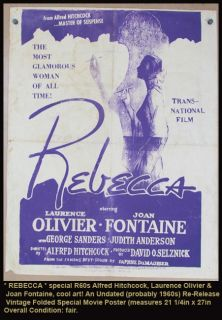 Poster R60S Alfred Hitchcock Laurence Olivier Joan Fontaine