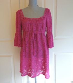 New Laundry by Design Pink Lace Swimsuit Cover Up Dress Size Medium $