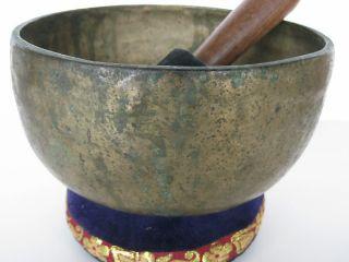 Tibetan Singing Bowl 7 5 B Thick Old Worn Crown Bell