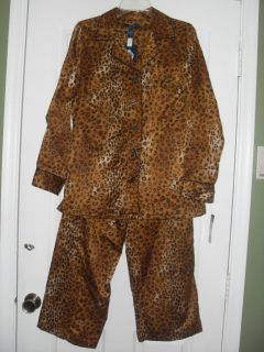 58 New Womens Chaps Ralph Lauren Pajamas Animal Print 2pc Embroidered