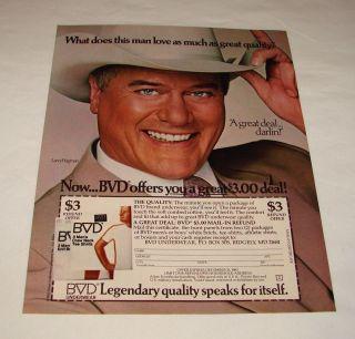 1983 BVD Ad Page Larry Hagman Dallas TV Show