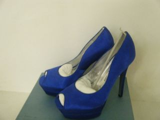 Lauren Jones Vicki Beautiful Blue Satin Dress Shoes Size 6 5 M US New