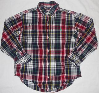 Ralph Laure Polo Boy Plaid Dress Shirt Red White Blue Green Sz 5