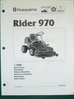 RIDER 970 0 TURN LAWN GARDEN TRACTOR MOWER PARTS LIST SERVICE MANUAL