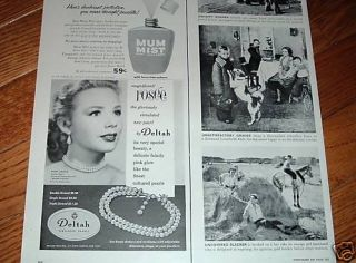 1955 Deltah Pearls Jewelry Ad Hollywoods Piper Laurie