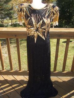 Vtg Laurence Kazar Long Beaded Sequin Black Gold Silk Dress M
