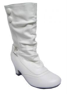 Lasonia Wet Youth Girls White Knee High Trendy Dress Boots