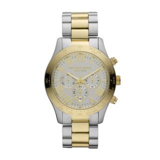 New Michael Kors MK8229 Layton Two Tone Gold Silver Mens Womens