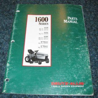 1600 Series Lawn Garden Tractor Mower Parts Manual Catalog