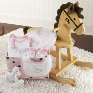 Baby Personalized Rocking Horse w/ Plush Toy & Layette Gift Set /Pink