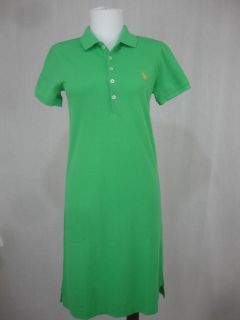 Ralph Lauren Sport Polo Shirt Dress Mesh Green Orange Pony XS s M L