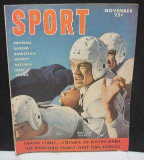 Magazine Charlie Justice Leahy Notre Dame Football Michigan