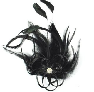 E4163 Flower Black Brooch Pin Feather Leather Rhinestone Vintage Style
