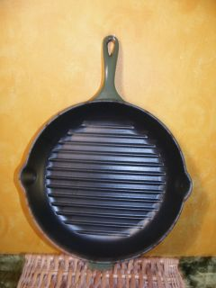 Le Creuset Griddle Skillet Frying Pan 26 Enamel Cast Iron Grill Green