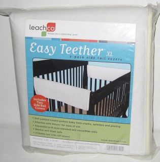 NEW LEACHCO PADDED CRIB 2 SIDE RAIL COVERS Easy Teether White Wrap