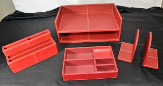 Piece Faux Red Leather Desk Organizer Set