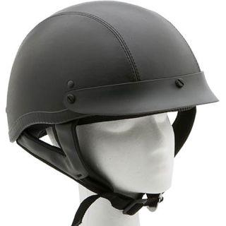Kerr Shorty Black Leather Motorcycle Half Helmet Adult XS s M L XL 2XL
