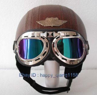 Leather Covered All Coffee Half Face Cycling Motorcycle Helmet Goggles