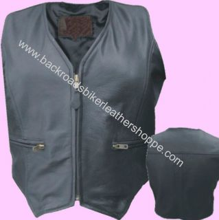 Ladies Womens Leather Motorcycle Vest w Zipper Front